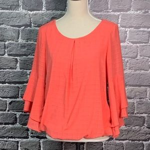 ALYX Coral Bubble Hem Top Flare Sleeves Sz S